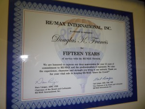 Doug's 15 year RE/MAX Certificate