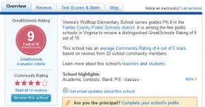 Greatschools screenshot Wolftrap ES Vienna VA