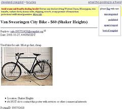 Yehuda's stolen bike on Craigslist