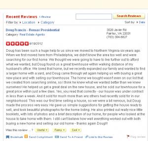 Yelp review of Doug Francis Realtor