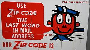 """ZIP code promotional sign with """"Mr. ZIP&q..."""
