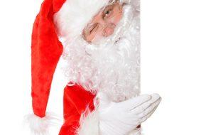 Santa looking around the corner