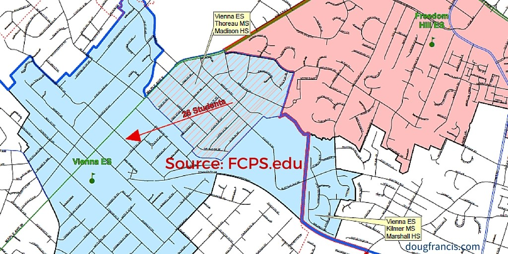 Vienna Elementary Boundary Change 2016 map