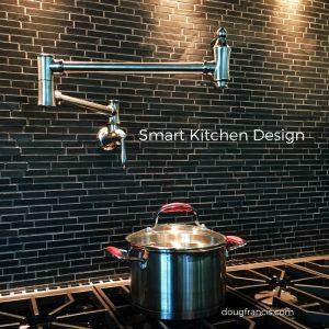 custom kitchen backsplash and pot filler water tap
