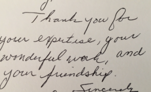 personal thank you note to Doug Francis
