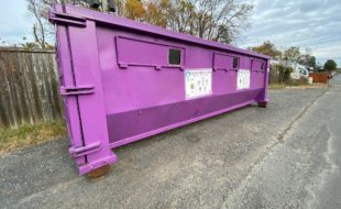 Purple glass recycling location in Vienna Virginia