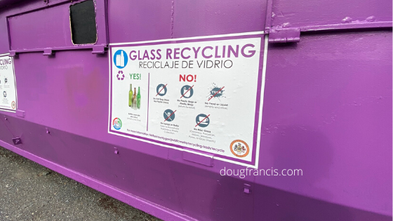 Glass recycling in Vienna VA is collected at a Fairfax County purple dumpster on Mill Street